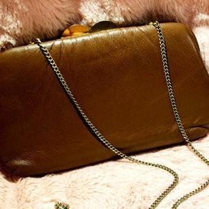 Vintage Harry Levine chocolage brown clutch